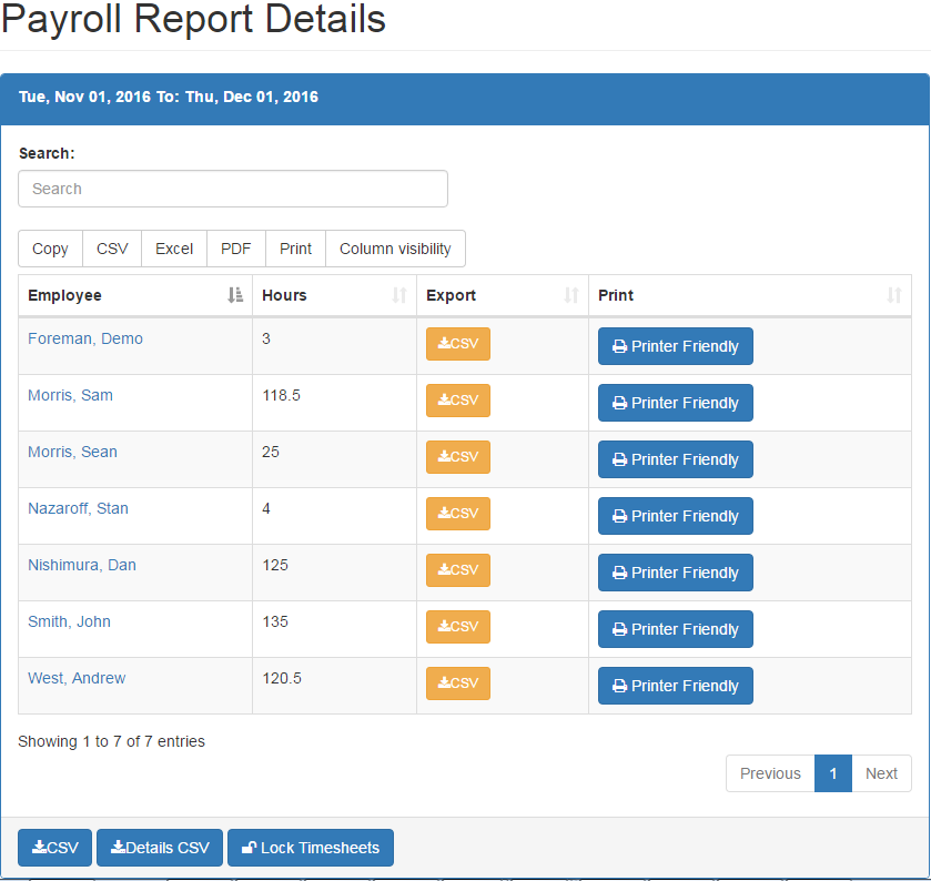 Time sheet reports for Payroll