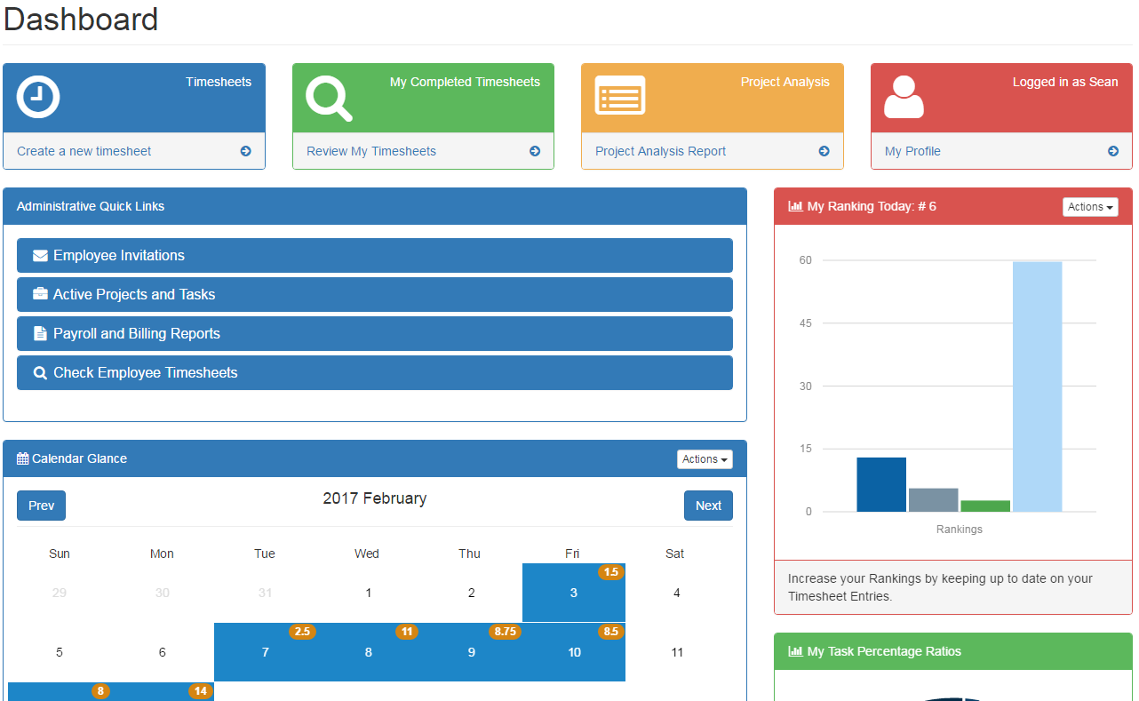 New dashboard for construction timesheet software