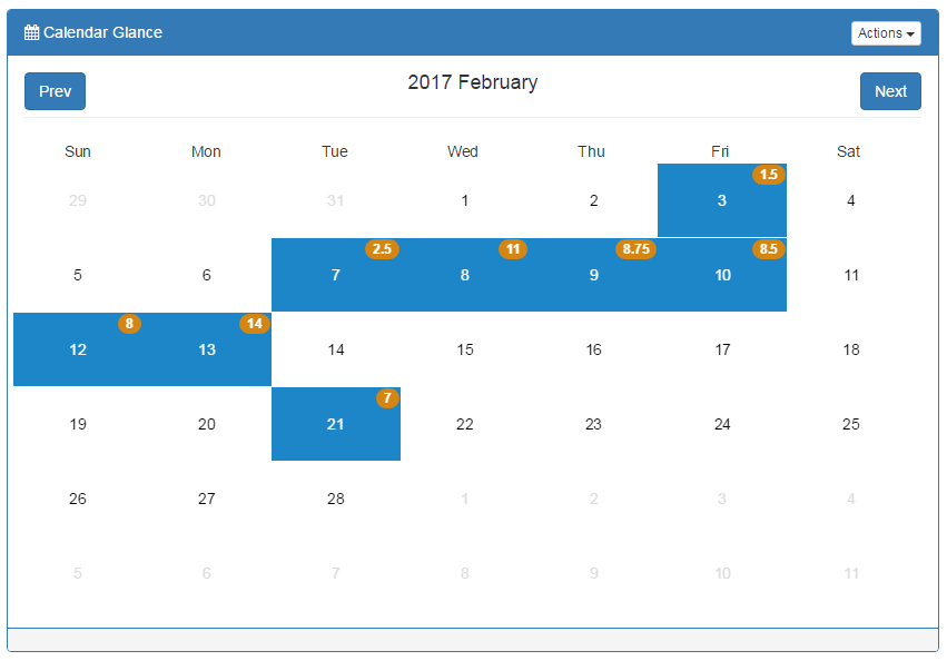 Calendar select tool