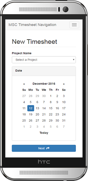 Mobile Timehsheet Web application