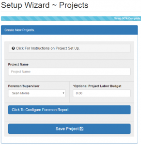 Setting up Projects using the Set up Wizard